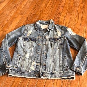 NWOT awesome distressed denim jacket